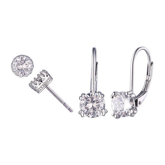 Diamonart White Cubic Zirconia Sterling Silver 2 Pair Earring Set