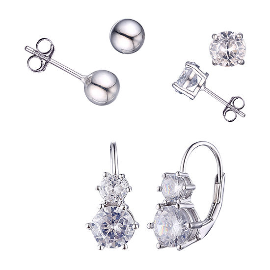Diamonart White Cubic Zirconia Sterling Silver 3 Pair Earring Set
