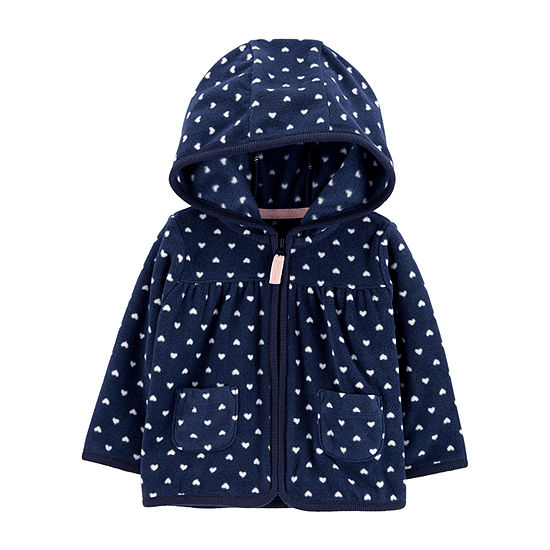 Carter's Girls Hooded Neck Long Sleeve Hearts Cardigan Baby