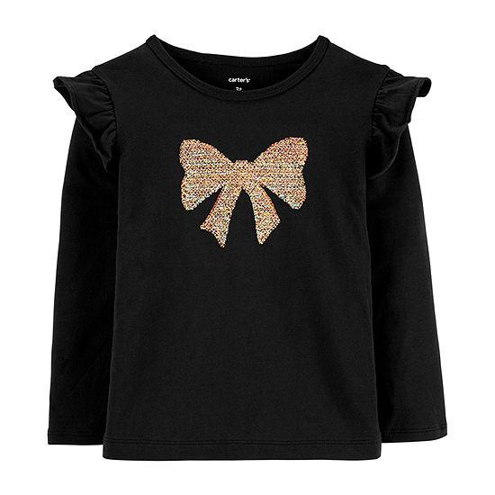 Carter's Girls Crew Neck Long Sleeve T-Shirt-Toddler