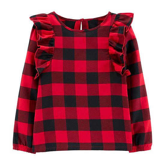 Carter's Girls Round Neck Long Sleeve T-Shirt Preschool / Big Kid