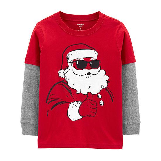 Carter's Little & Big Boys Crew Neck Long Sleeve Graphic T-Shirt