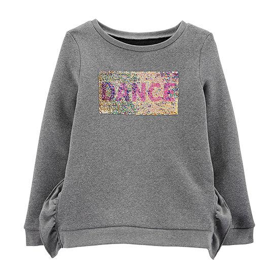 Carter's Girls Crew Neck Long Sleeve Sweatshirt Preschool / Big Kid