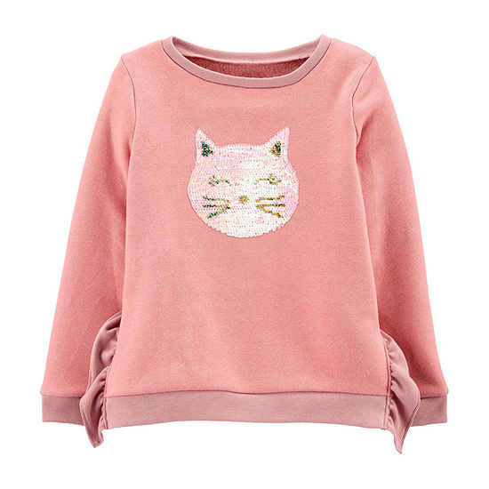 Carter's Girls Crew Neck Long Sleeve Sweatshirt Preschool / Big Kid