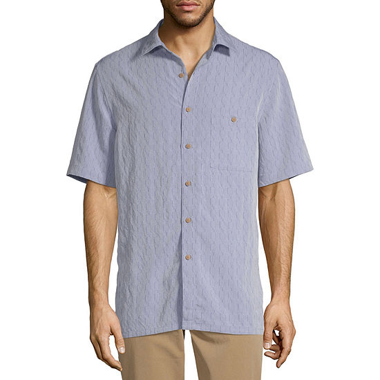 Campia Mens Short Sleeve Geo Linear Button-Front Shirt