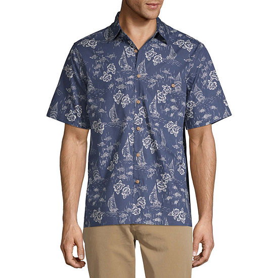 Campia Mens Short Sleeve Button-Front Shirt