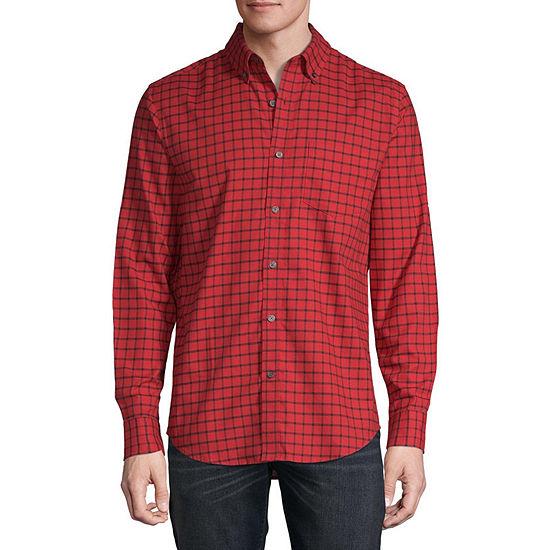 St. John's Bay Stretch Mens Long Sleeve Button-Front Shirt
