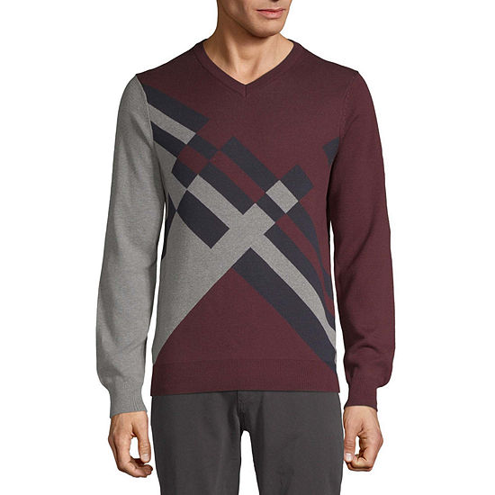 Perry Ellis V Neck Long Sleeve Knit Pullover Sweater