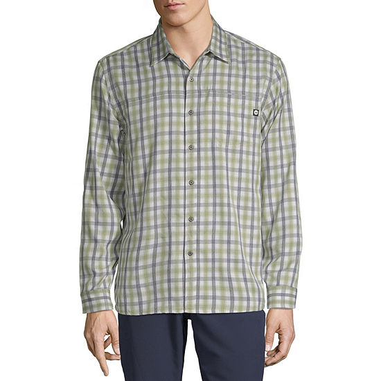 Hi-Tec Mens Long Sleeve Moisture Wicking Plaid Button-Down Shirt