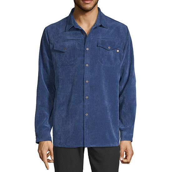 Hi-Tec Corduroy Mens Long Sleeve Moisture Wicking Button-Front Shirt