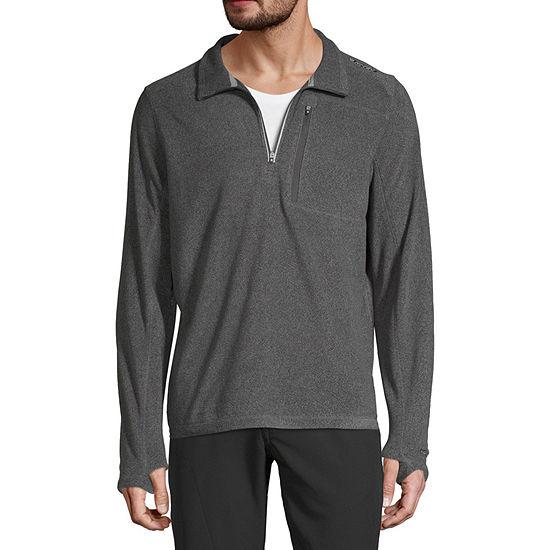 Hi-Tec Plush Microfleece Mens Mock Neck Long Sleeve Quarter-Zip Pullover