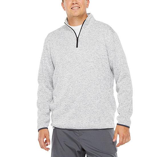 PGA TOUR Big and Tall Mens Mock Neck Long Sleeve Quarter-Zip Pullover