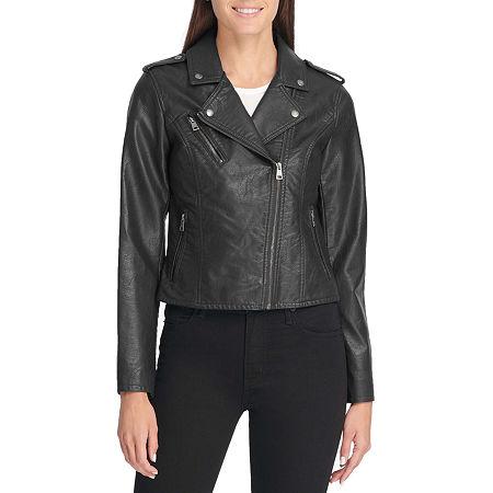 Levi's Faux Leather Motorcycle Jacket, Large , Black