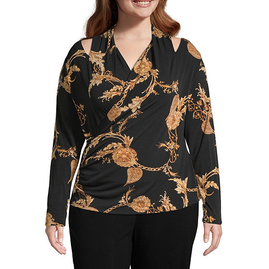 Bold Elements Womens Long Sleeve Wrap Neck Blouse with Cutouts - Plus