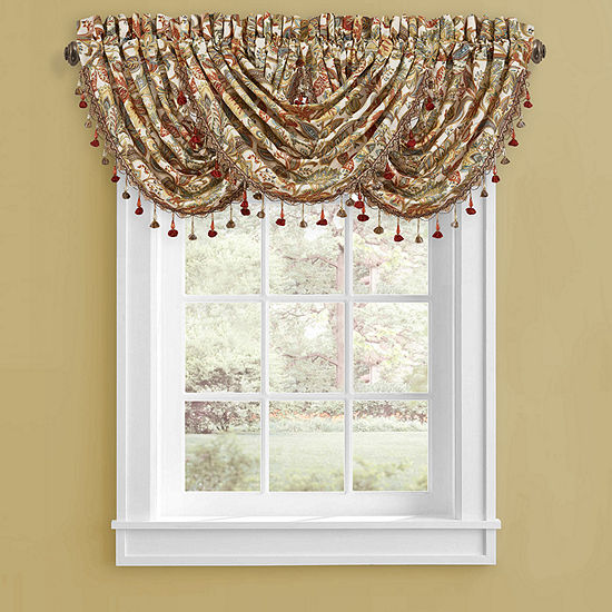 Five Queens Court August Rod-Pocket Waterfall Valance