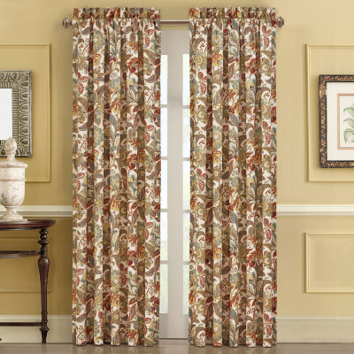 Five Queens Court August Light-Filtering Rod-Pocket Set of 2 Curtain Panel