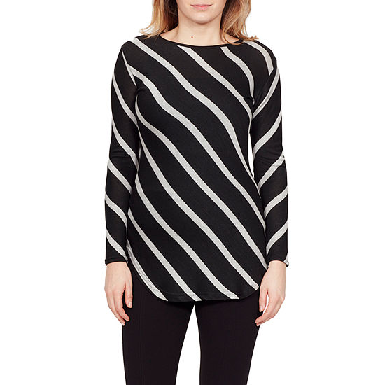 Larry Levine Larry Levine Womens Boat Neck Long Sleeve Blouse