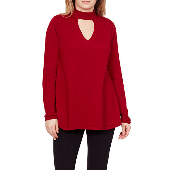 Larry Levine Larry Levine Womens Keyhole Neck Long Sleeve Pullover Sweater