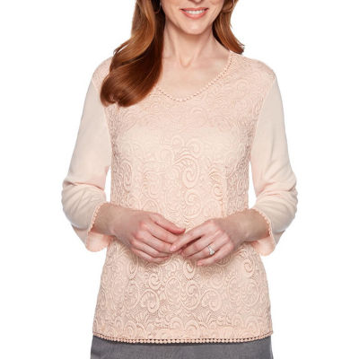 Alfred Dunner Boardroom-Womens V Neck 3/4 Sleeve T-Shirt