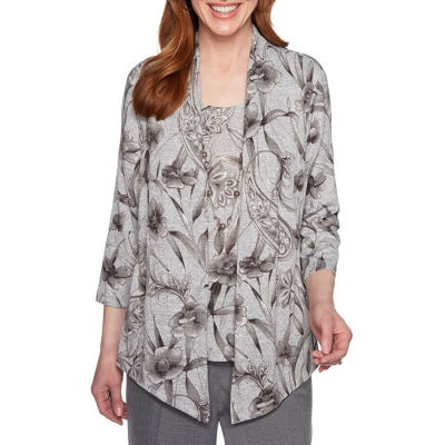 Alfred Dunner Boardroom Womens Round Neck 3/4 Sleeve Layered Top