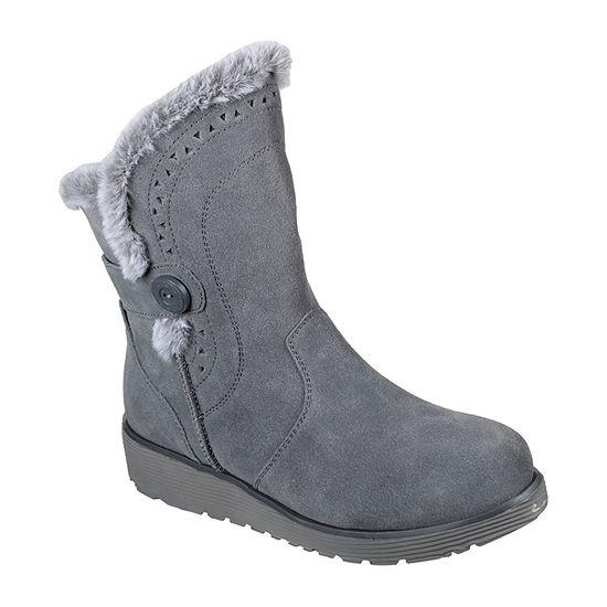 Skechers Womens Keepsakes Cozy Peak Winter Boots Wedge Heel