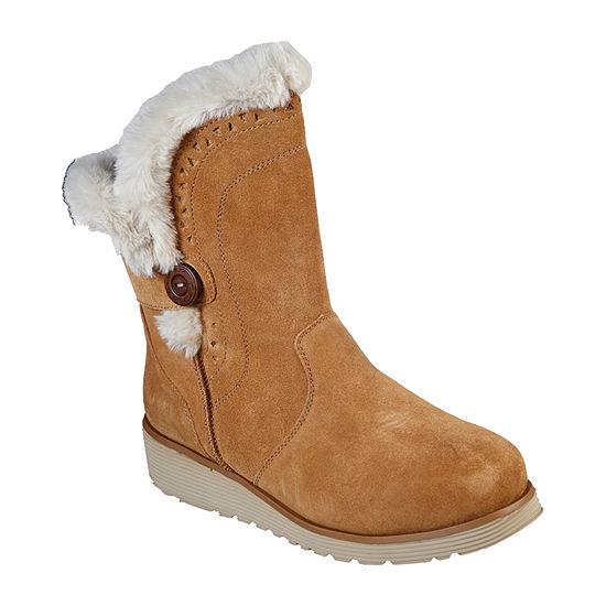 Skechers Womens Keepsakes Cozy Peak Wedge Heel Winter Boots