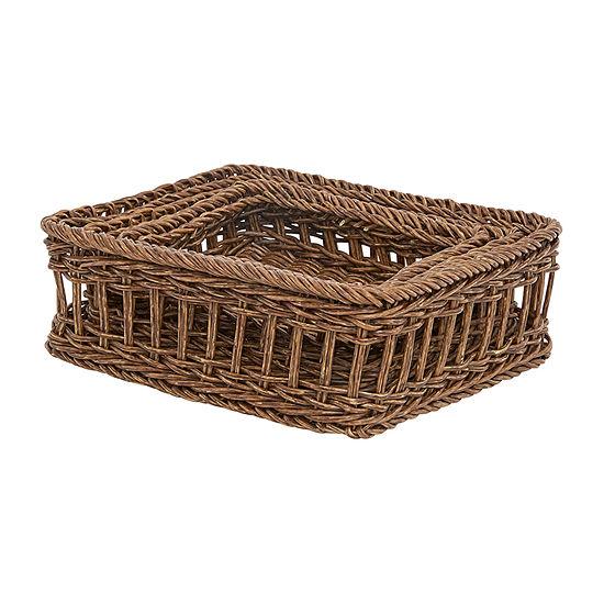 Baum Set Of 3-pc.Brown Faux Wicker Basket