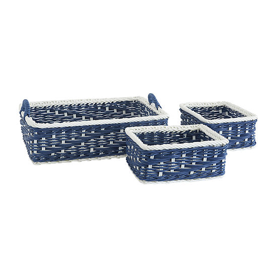Baum Set Of 3-pc.Navy White Faux Wicker Basket