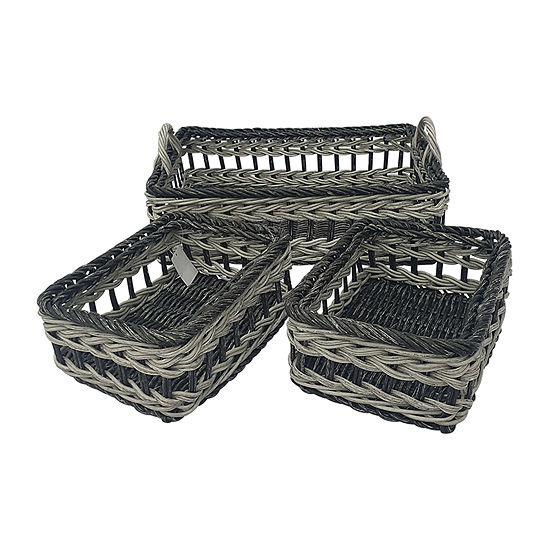 Baum Set Of 3-pc.Gray Two Tone Faux Wicker Basket