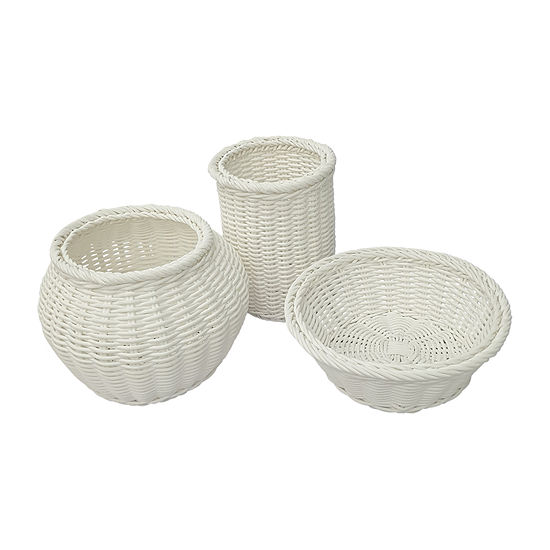 Baum Set Of 3-pc. White Faux Wicker Decorative Basket