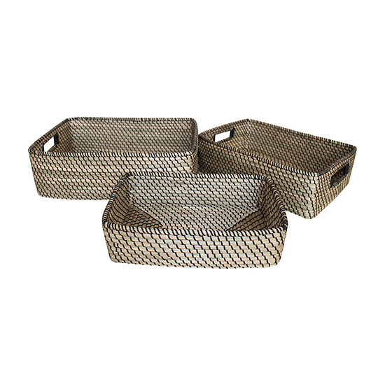 Baum Set Of 3-pc. Seagrass Black Accent Basket