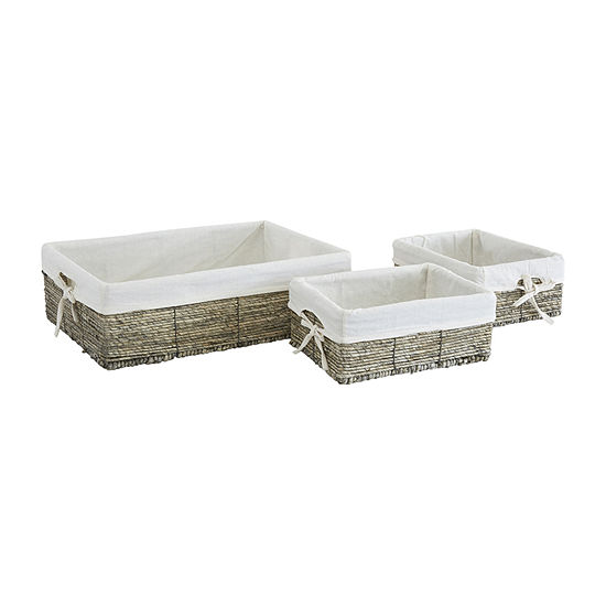 Baum Set Of 3-pc.Lined Gray Maize Storage Basket