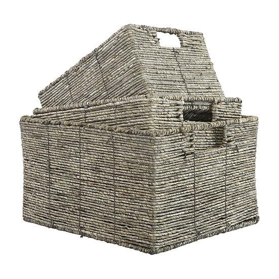 Baum Set Of 3-pc.Gray Maize Storage Basket