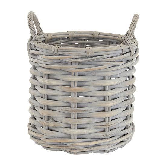 Baum Gray Round Rattan Basket