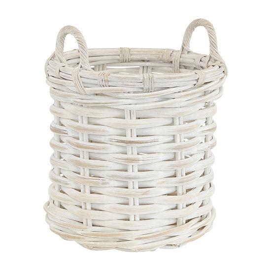 Baum White Round Rattan Basket