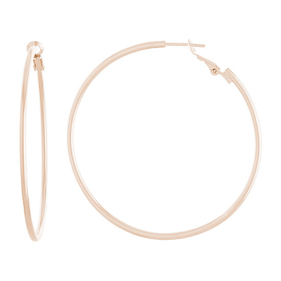 Silver Reflections 14k Rose Gold Over Brass Hoop Earrings