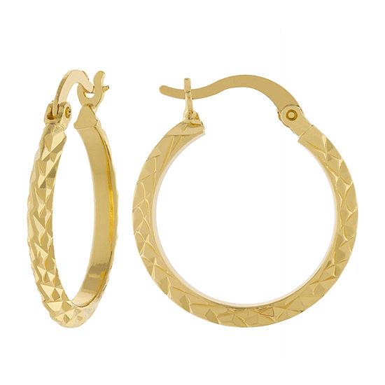 Silver Reflections 14K Gold Over Brass Hoop Earrings