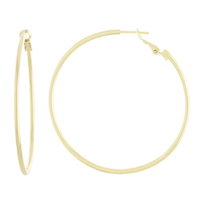 Silver Reflections 14K Gold Over Brass Hoop Earrings