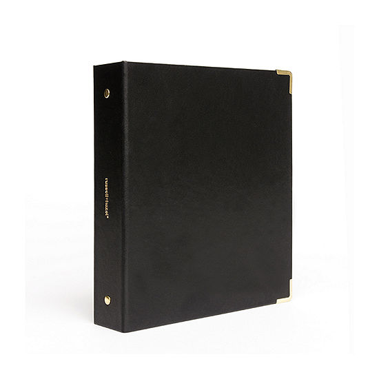Russell + Hazel Black Vegan Leather Mini 3 Ring Binder