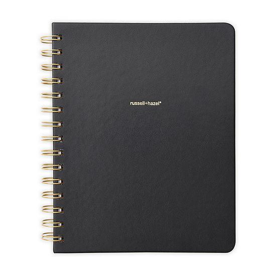Russell + Hazel Spiral Lined Vegan Leather Black Notebook