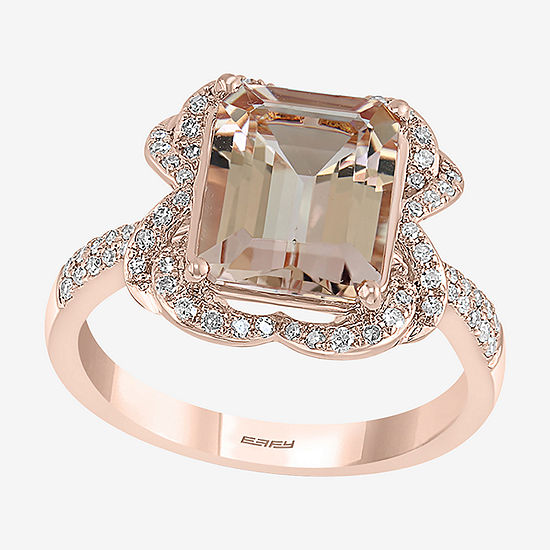 LIMITED QUANTITIES! Effy Final Call Womens 1/4 CT. T.W. Genuine Diamond & Genuine Pink Morganite 14K Rose Gold Cocktail Ring