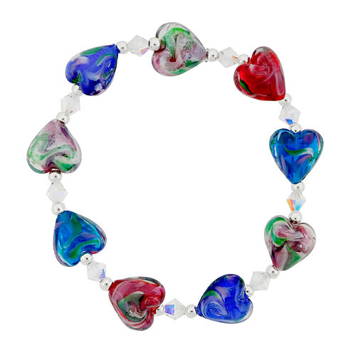 Dazzling Designs™ Red & Blue Glass Heart Bead Bracelet