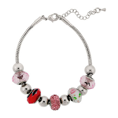 Dazzling Designs™ Silver-Plated Pink Glass Bead Bracelet