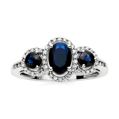 Genuine Blue Sapphire and Diamond-Accent 10K White Gold Ring
