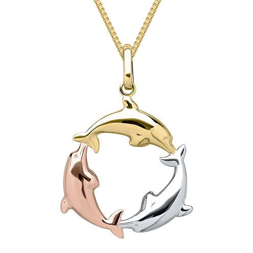Infinite Gold™ 14K Tri-Tone Gold Dolphin Circle Pendant Necklace