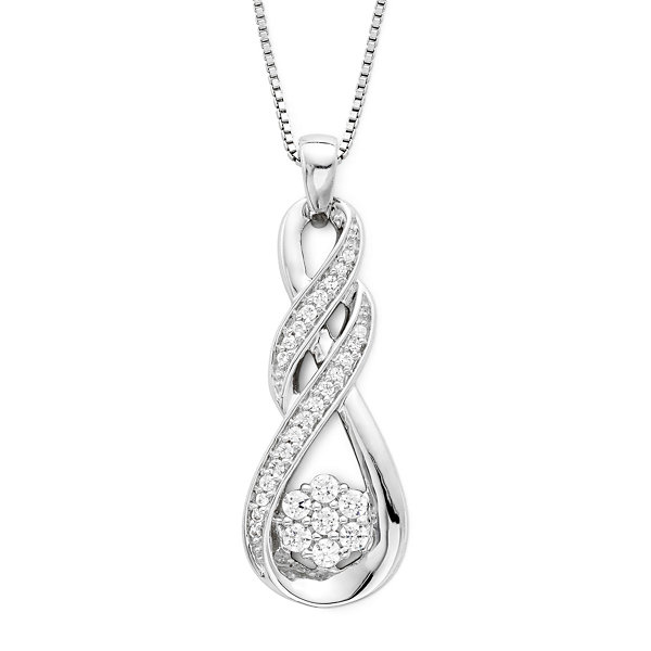 diamond blossom 1/4 CT. T.W. Diamond Swirl Pendant Necklace