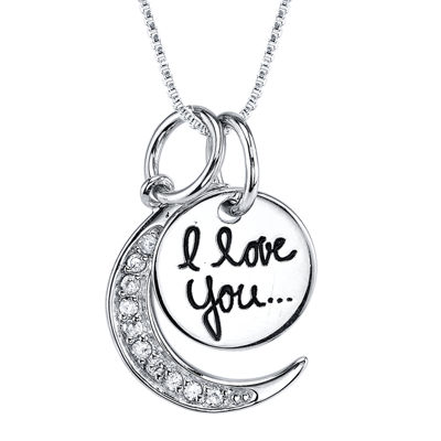"""Crystal Sterling Silver """"I Love You to the Moon and Back"""" Pendant Necklace"""