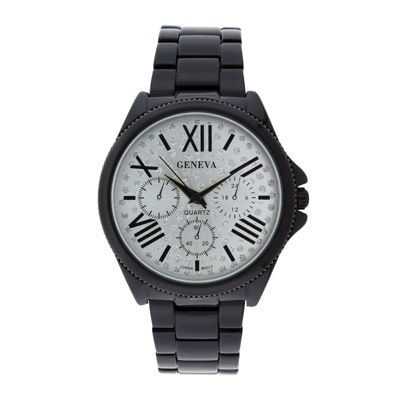 Geneva Womens Crystal-Accent Silver-Tone Dial Multifunction-Look Bracelet Watch