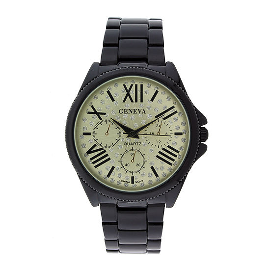 Geneva Womens Crystal-Accent Champagne Dial Multifunction-Look Bracelet Watch