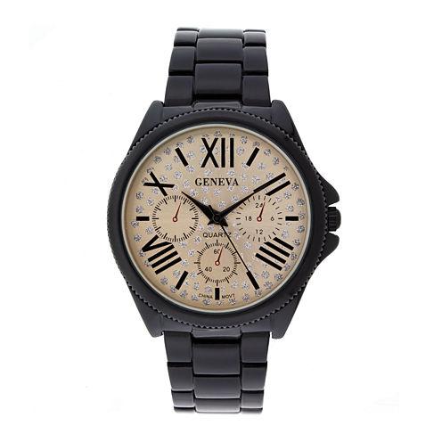 Geneva Womens Crystal-Accent Rose-Tone Dial Multifunction-Look Bracelet Watch